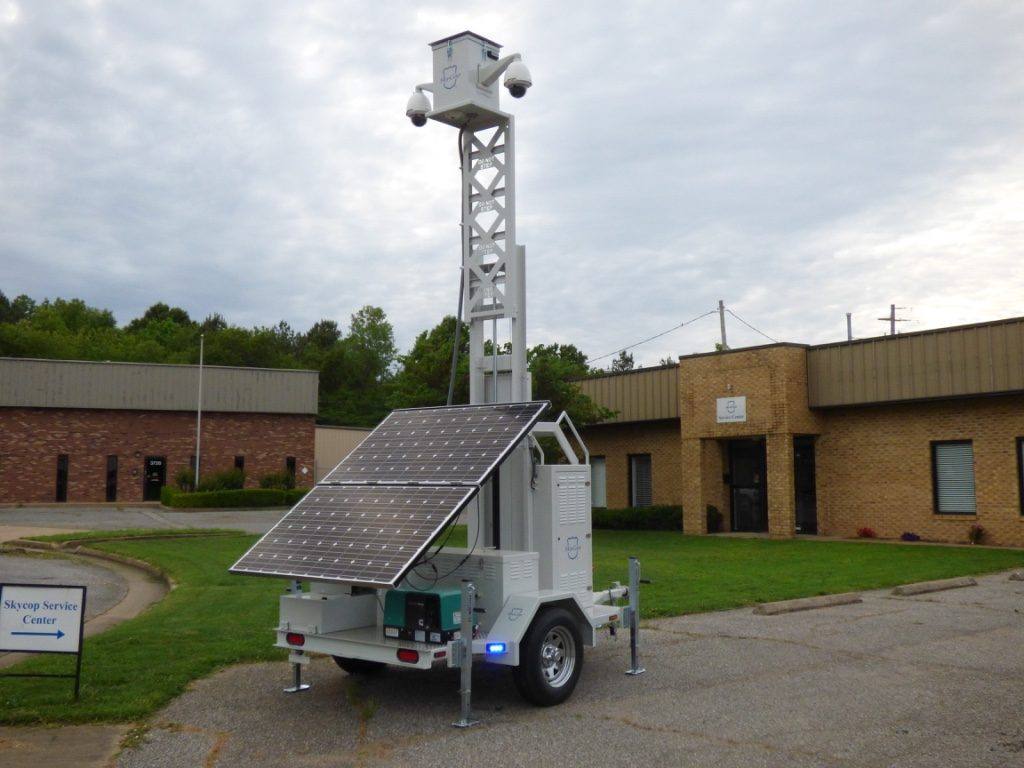mobile surveillance unit set up outside facility - jackson security systems