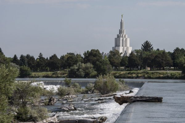 Idaho Falls view of temple and waterfalls