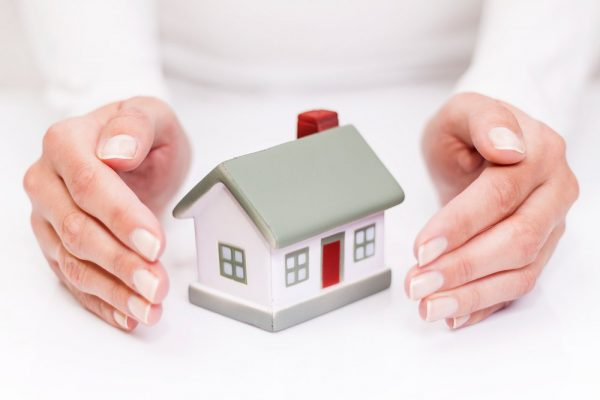person holding small home safely